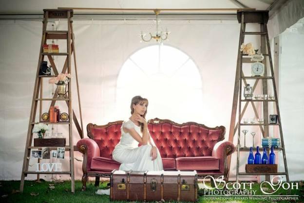 Ladder backdrop & Crystal Sofa - Photo by Scott Goh photography